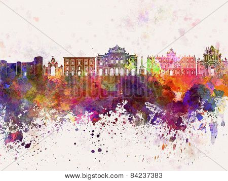 Catania Skyline In Watercolor Background