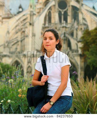 Beautiful Student Girl In The Paris City