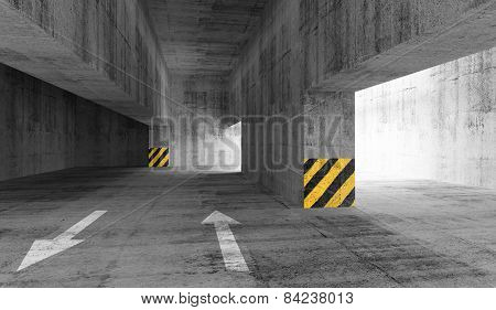 Abstract Gray Concrete Urban Parking Interior. 3D Illustration