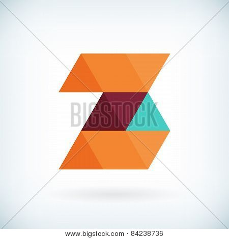 Modern Letter Z Icon Flat Design Element Template