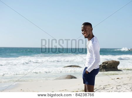 Happy African American Man Smiling At The Beach