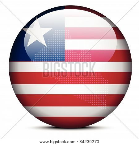 Map With Dot Pattern On Flag Button Of  Liberia