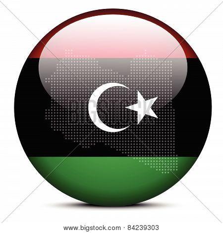 Map With Dot Pattern On Flag Button Of Libya (libian Arab Jamahiriya)