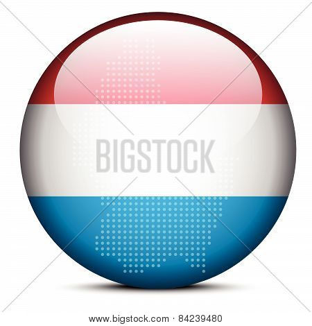 Map With Dot Pattern On Flag Button Of Luxembourg