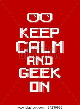 keep calm geek red pixel