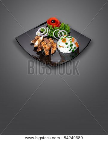 Chicken Fillet - Meat On Plate With Fresh Salad Vegetables Isolated On Gray Background