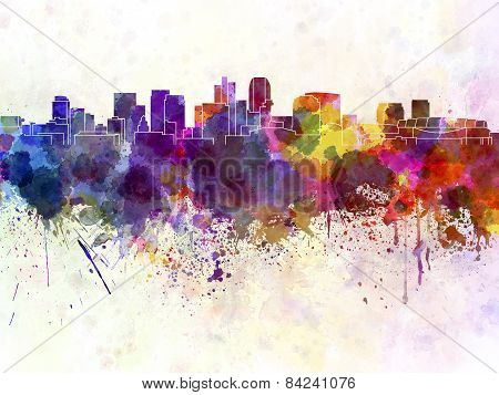 Phoenix Skyline In Watercolor Background