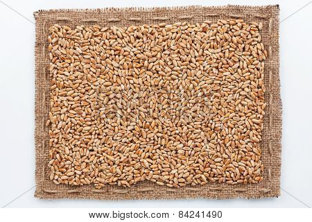 Frame Of Burlap And Wheat Grain