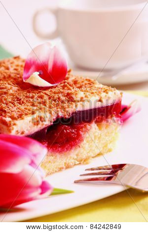 Cherry Cake And Flowers.