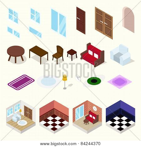 Isometric rooms with furniture