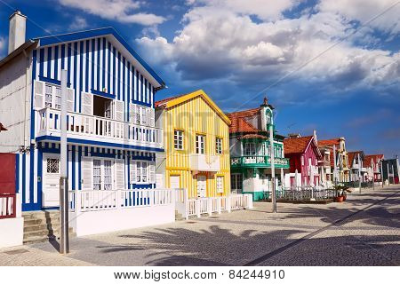 Houses In Costa Nova, Aveiro, Portugal
