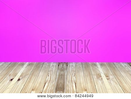Broad Planks And Pink Blur Background.
