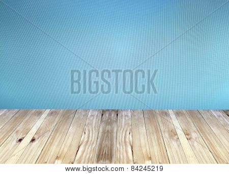Broad Planks And Blue Blur Background.