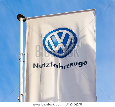 The Flag Of Volkswagen Over Blue Sky