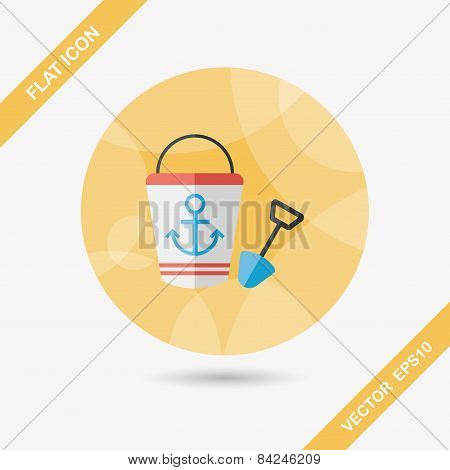 Toys For Sand Flat Icon With Long Shadow,eps10