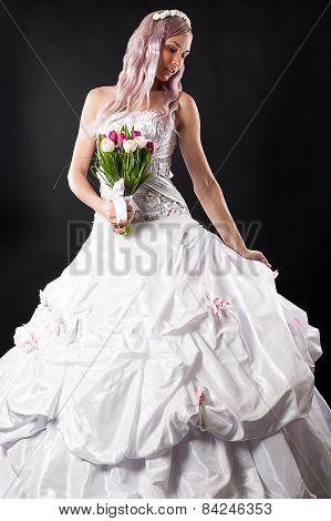 elegant bride with wedding bouquet of tulips