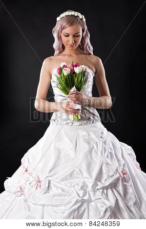 woman with a wedding bouquet of tulips