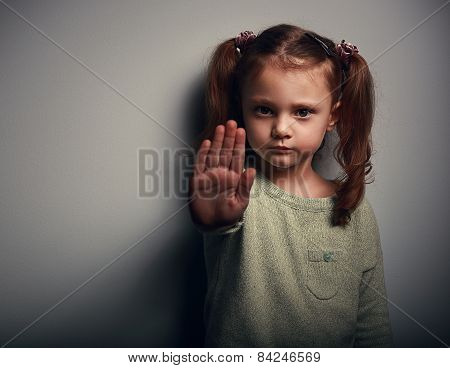 Angry Kid Girl Showing Hand Signaling To Stop Useful To Campaign Against Violence And Pain