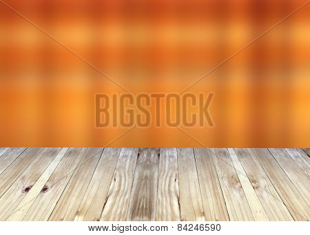 Broad Planks And Bright Orange Blur Background.