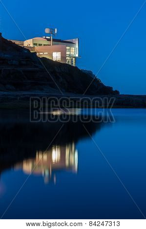Building Exterior On Cliff At Night