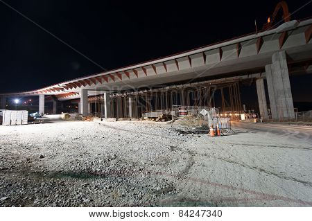 Overpass Under Construction With Gravel Ground