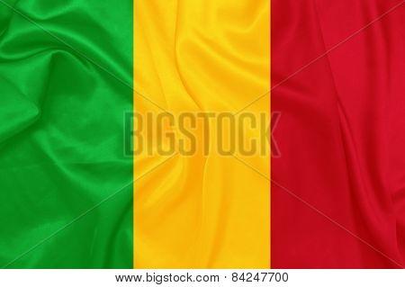 Mali - Waving national flag on silk texture
