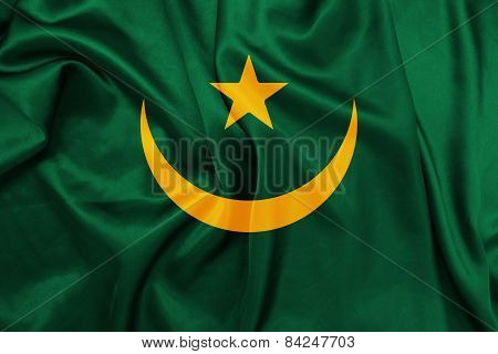 Mauritania - Waving national flag on silk texture