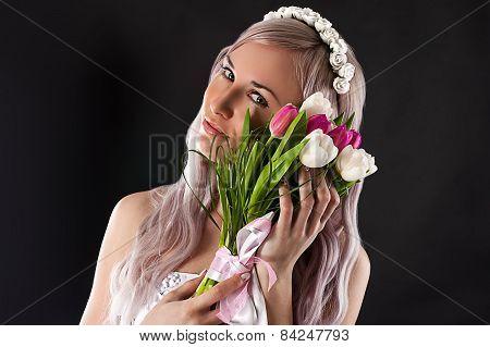 portrait woman with wedding bouquet