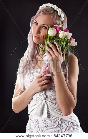 beautiful woman with wedding bouquet