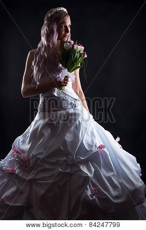 luxurious bride with wedding dress