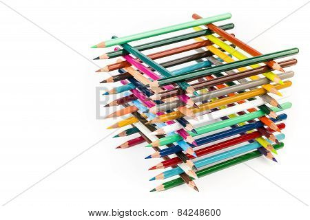 Built square construction of various colored crayons