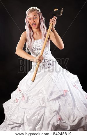 beautiful bride ax in hand
