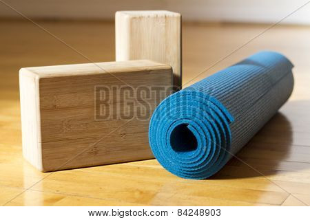 Yoga Mat and Blocks - Yoga Accessories in Studio