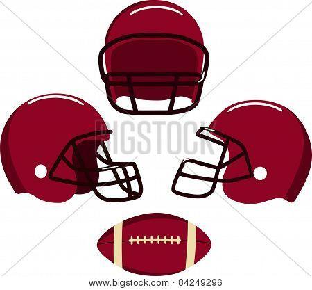 American football helmets and ball.  Vector illustration