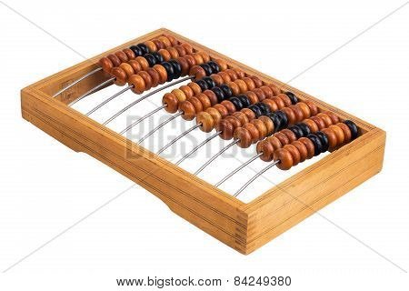 Old Abacus Lay On A White Background