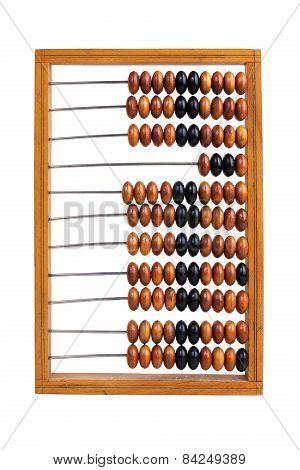 Old Wooden Abacus Lay On A White Background
