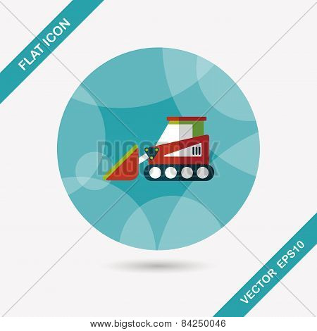 Transportation Bulldozer Flat Icon With Long Shadow,eps10