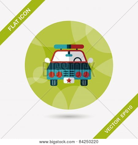 Transportation Police Car Flat Icon With Long Shadow,eps10