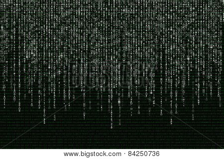 White Matrix On The Background Of Green Binary Code