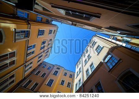 Courtyard in St. Petersburg, sunny day