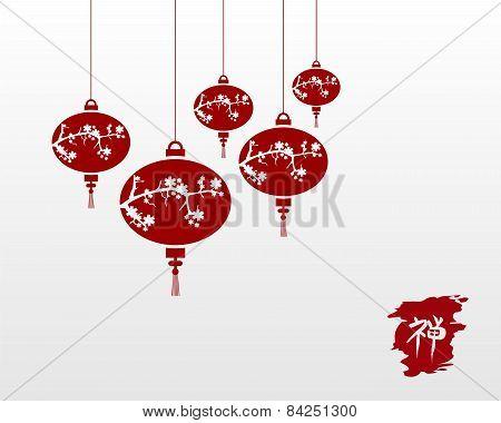 Zen Chinese Lanterns Illustration Background