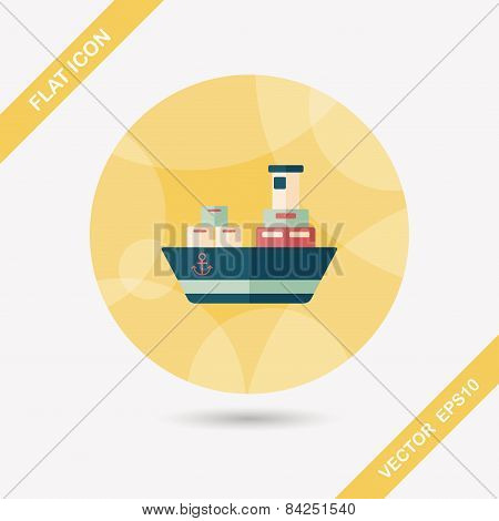 Transportation Container Ship Flat Icon With Long Shadow,eps10