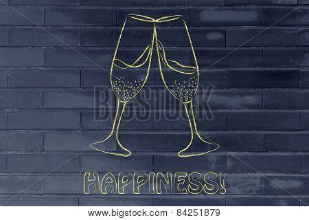 Glasses Of Champagne, Symbol Of Celebration