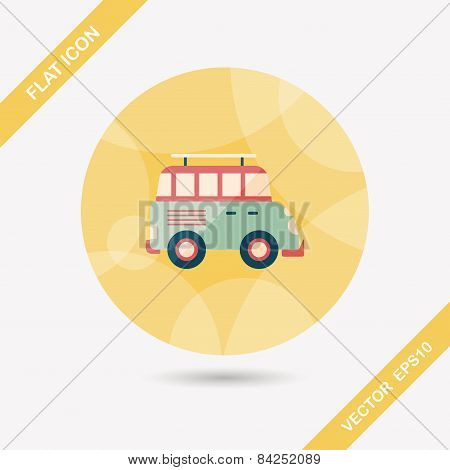 Transportation Sports Utility Vehicle Flat Icon With Long Shadow,eps10