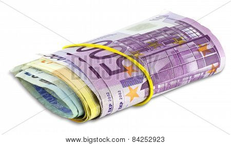 Pile Scroll Of Euro Banknotes