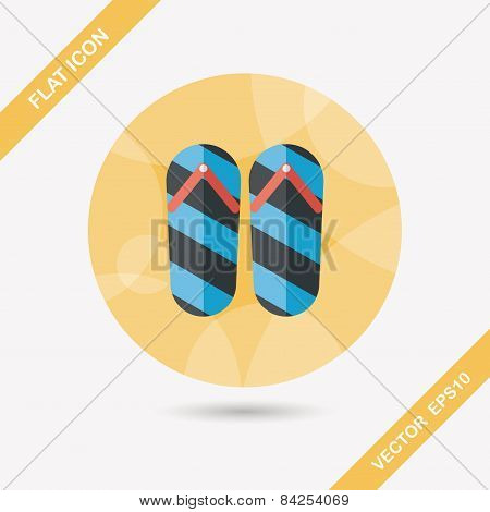Flip Flop Flat Icon With Long Shadow,eps10