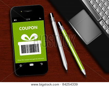 Mobile Phone With Spring Discount Coupon, Laptop And Office Tools