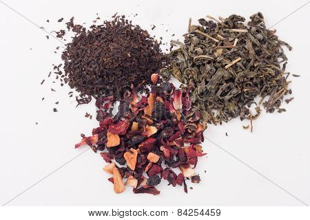 assorted dry tea leaves