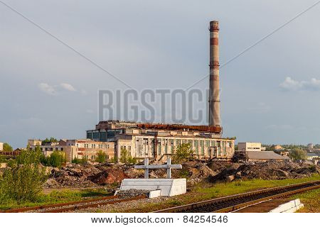 Damaged thermal power plant