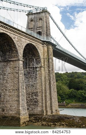 Menai Suspension Bridge, From Anglesey West Side.